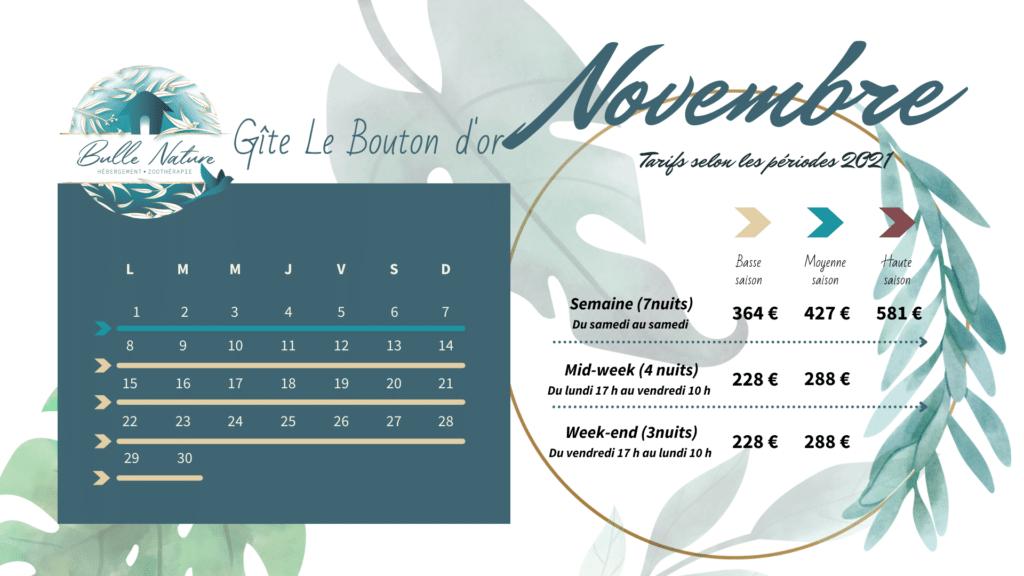 voici les dates et tarifs des réservations 2021 du gîte le bouton d'or de Bulle nature à à la Prévisière, au Poiré sur vie, en Vendée