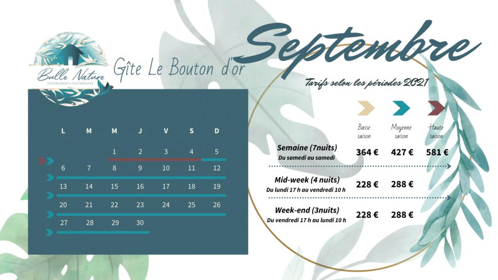 voici les dates et tarifs des réservations 2021 du gîte les coquelicots de Bulle nature à à la Prévisière, au Poiré sur vie, en Vendée